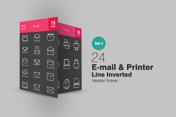 Thumbnail for 24 Email & Printer Line Inverted Icons