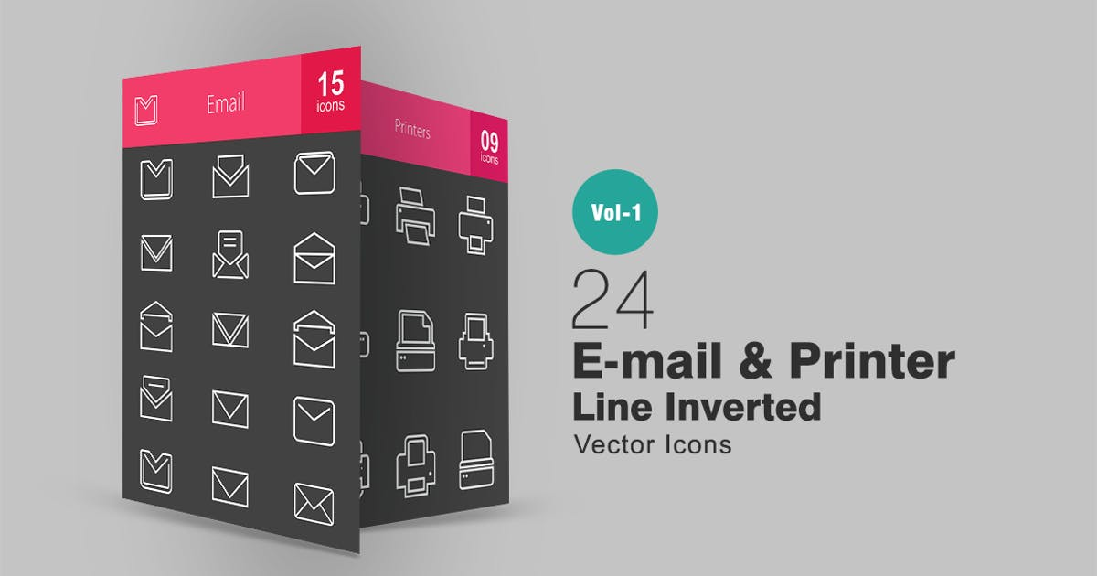Download 24 Email & Printer Line Inverted Icons by IconBunny