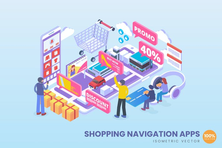 Thumbnail for Isometric Shopping Navigation Apps Vector Concept
