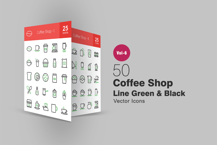Thumbnail for 50 Coffee Shop Green & Black Line Icons