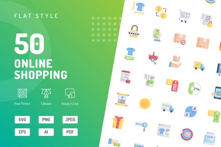 Online Shopping Flat Icons