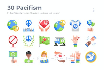 30 Pacifism Icons - Flat
