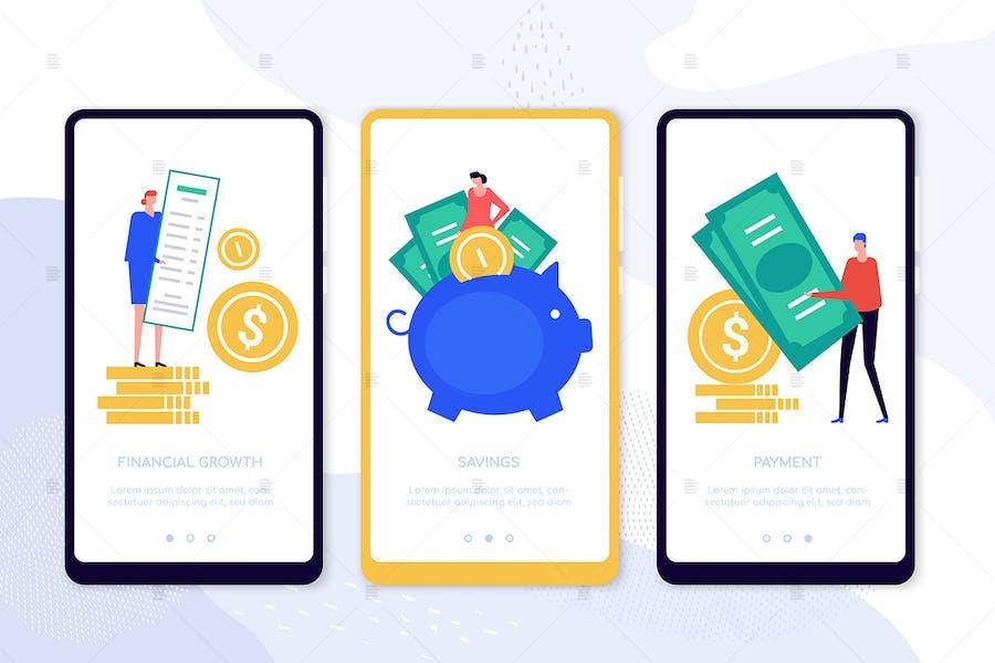 Money flow smartphone web pages