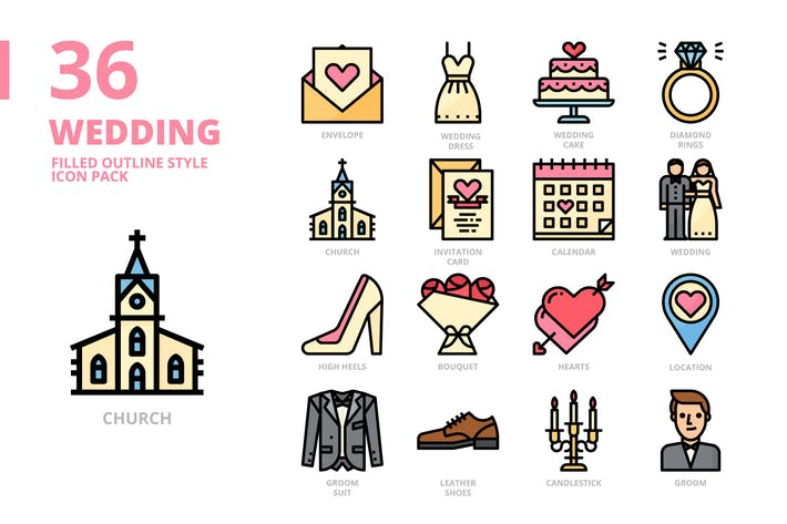 Wedding Filled Outline Style Icon Set