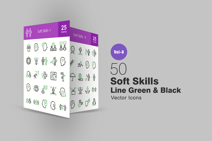 Thumbnail for 50 Soft Skills Green & Black Line Icons