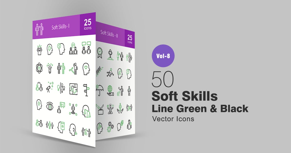 50 Soft Skills Green & Black Line Icons by Unknow