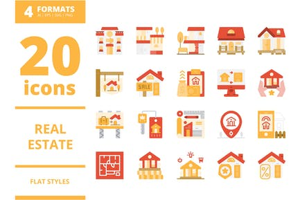 Real Estate Flat icons packs