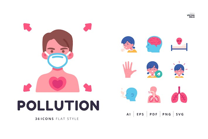 36 Pollution Icons Flat Style