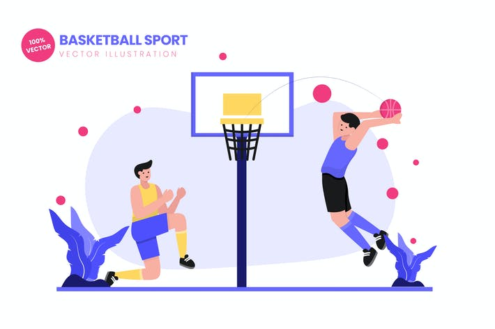 Thumbnail for Basketball Sport Flat Vector Illustration