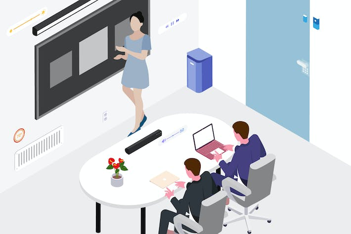 Thumbnail for Smart Things for Workspace Isometric Illustration