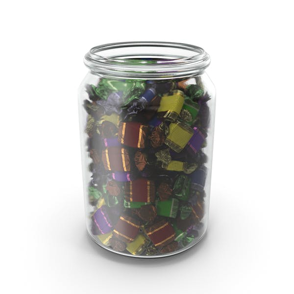 Jar with Wrapped Toffee Candy