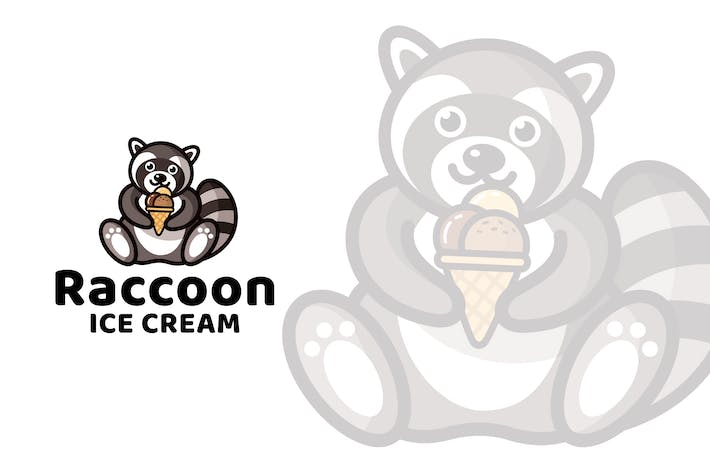 Thumbnail for Raccoon Ice Cream Cute Logo Template