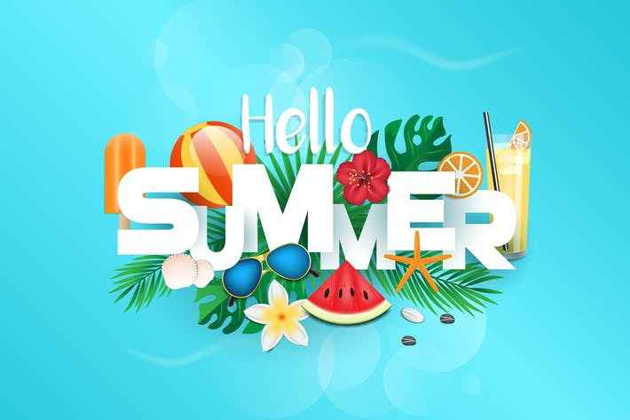 Hello Summer typografisches Design