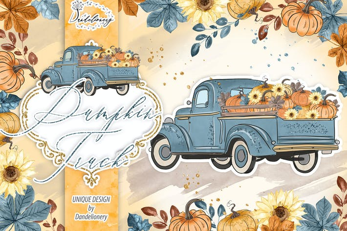 Thumbnail for Pumpkin Truck Blue design
