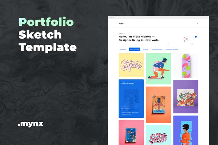 Thumbnail for Portfolio Sketch Template – Mynx