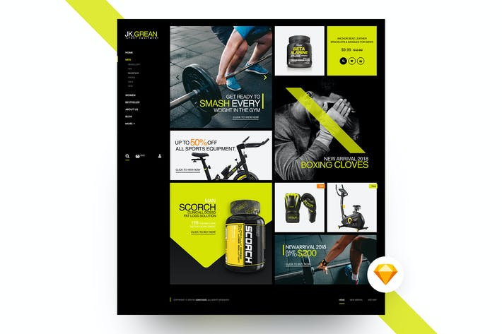 Cover Image For JK.Grean Homepage - Ecommerce Sketch Template