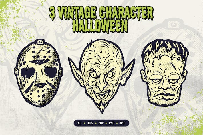 Thumbnail for Halloween Characters Illustration