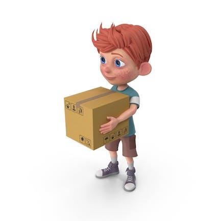 Cartoon Boy Charlie Carrying A Box
