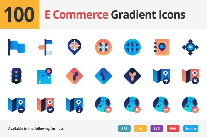 Thumbnail for E-commerce and Marketing Vector Gradient Icons