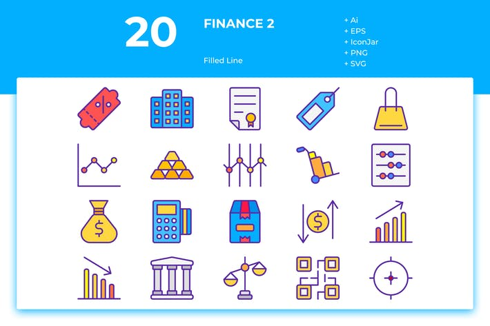 Thumbnail for 20 Finance Icons Vol. 2 (Filled Line)