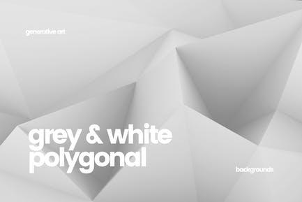 10 verschiedene graue und weiße Polygon-Hintergründe
