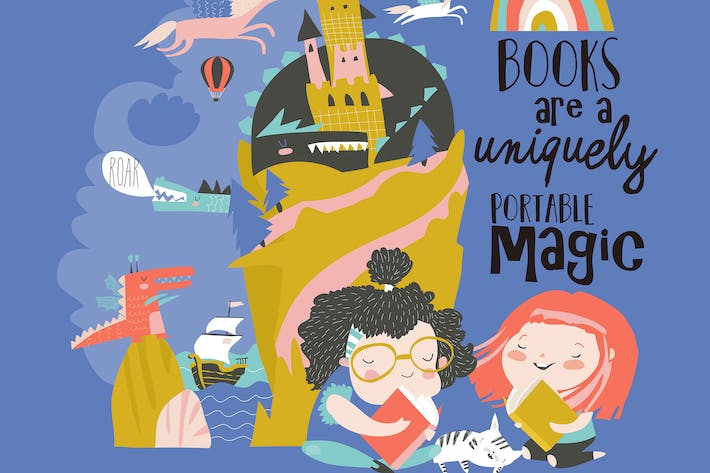 Thumbnail for Cute girls reading fairy tale and dreaming. Vector