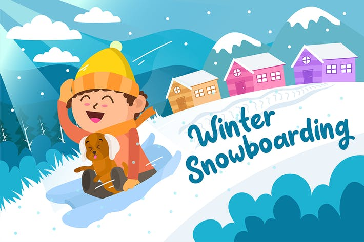Thumbnail for Winter Snowboarding - Vector Illustration