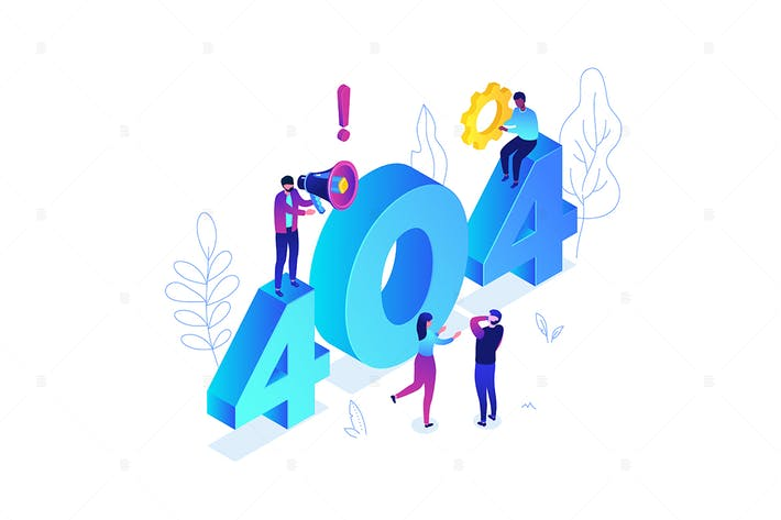 Thumbnail for Error 404 page - colorful isometric illustration