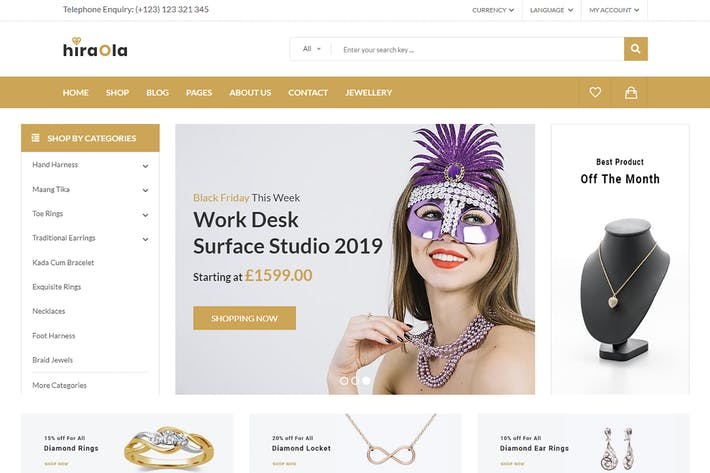 Thumbnail for Hiraola - Jewellery eCommerce Bootstrap 4 Template