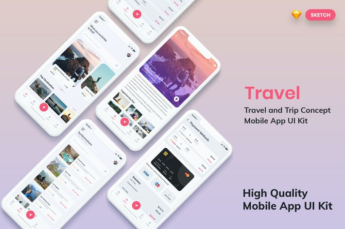 Thumbnail for Tour & Travel Booking MobileApp UI Light (SKETCH)