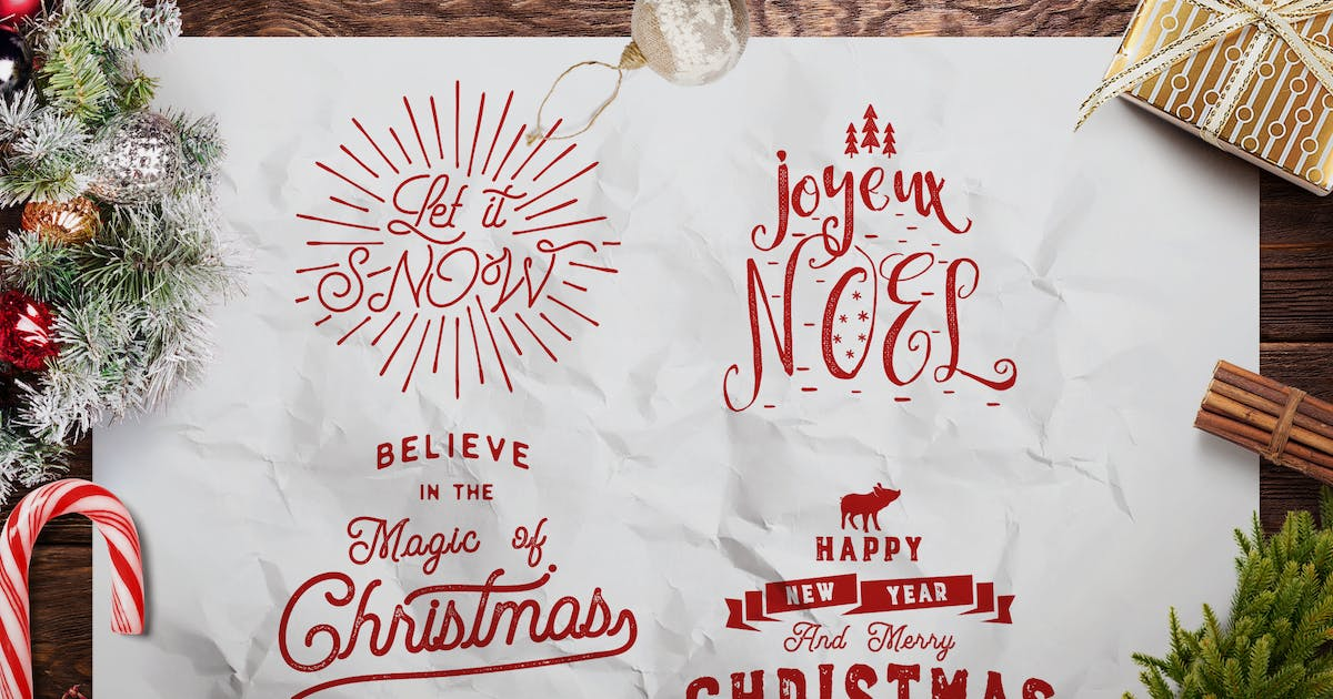 Download Retro Christmas Lettering Overlays / Xmas Sayings by JeksonJS