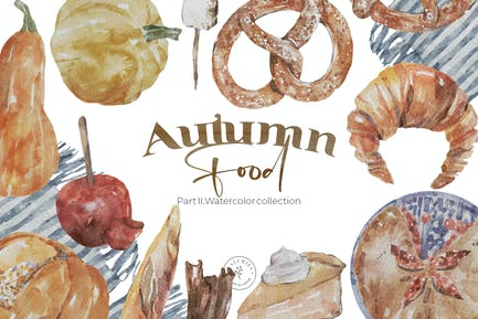 Autumn Food - Tasty Watercoolor collection