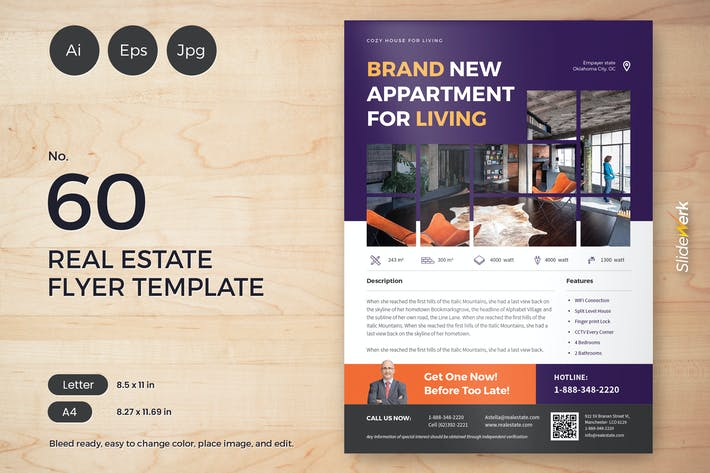 Thumbnail for Real Estate Flyer Template 60 - Slidewerk