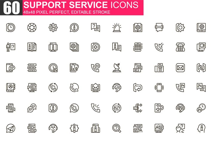 Support Service Thin Line Icons Pack