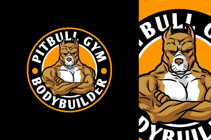 Thumbnail for Strong Bodybuilder Pitbull Mascot Character Logo