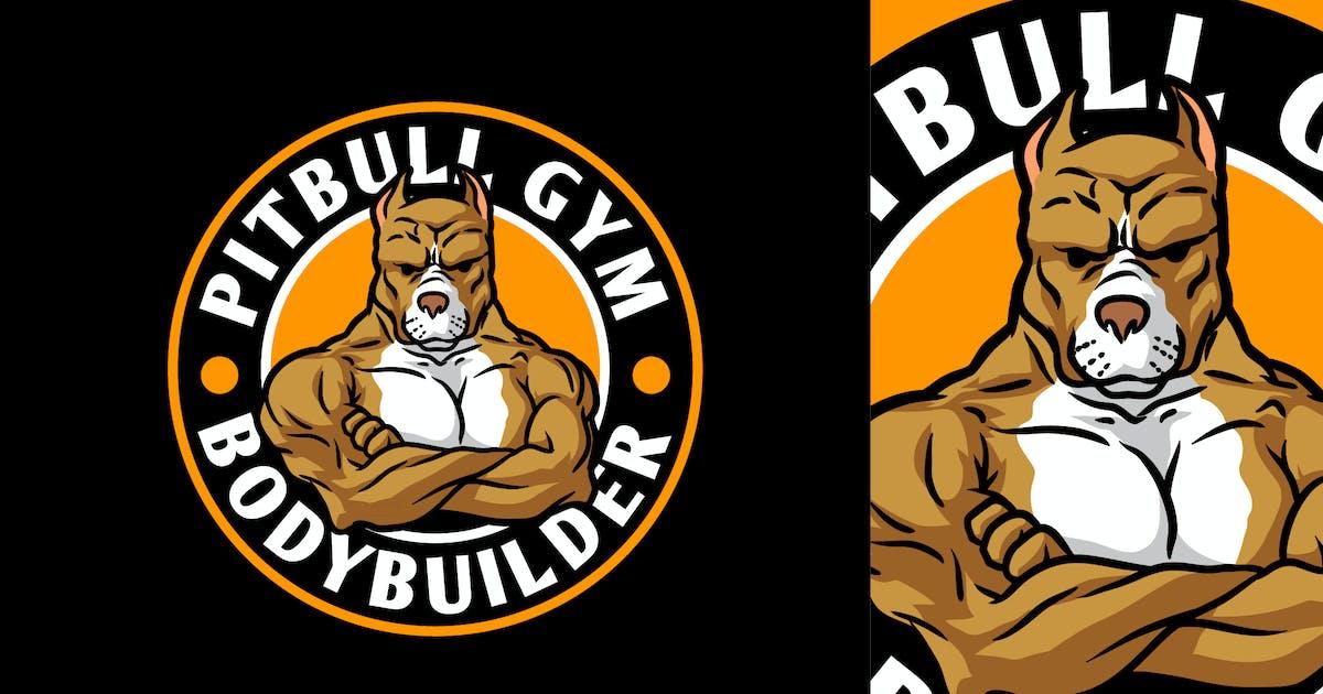 Download Strong Bodybuilder Pitbull Mascot Character Logo by Suhandi
