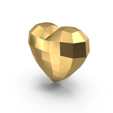 Низкое Поли Золотое Сердце
