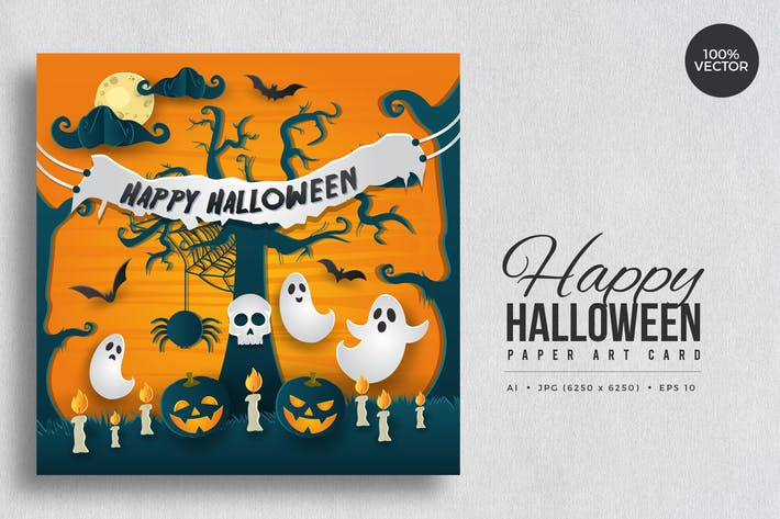 Thumbnail for Happy Halloween Paper Art Vector Card Vol.3