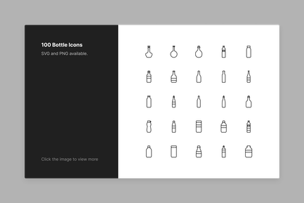 Bottle Icons - Line Style