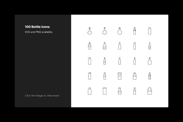 Flaschen-Icons - Linienstil