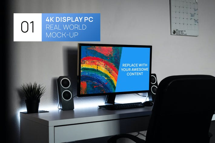 Thumbnail for PC Display 4K on Desk Real World Photo Mock-up