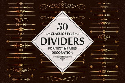 50 Vector Divider Page Decoration Design Elements