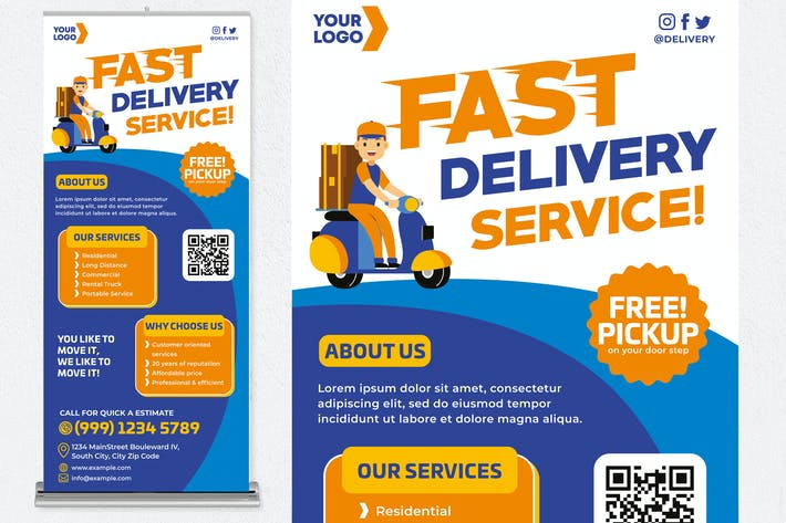 Thumbnail for Fast Delivery Service Roll Up Banner
