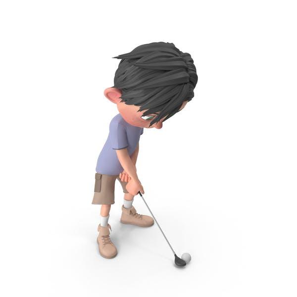 Cartoon Boy Jack Playing Golf