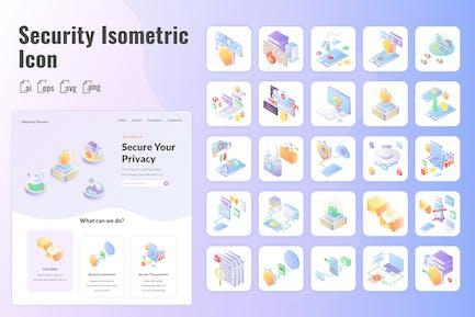 25 Iconset Isometrisch für Internetsicherheit