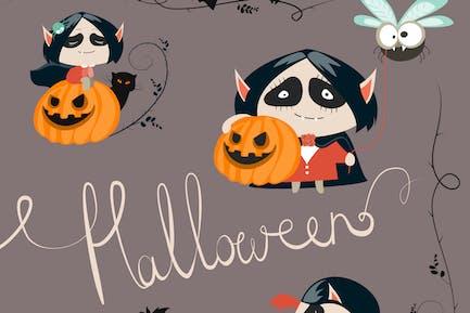Halloween characters icon set. Vector