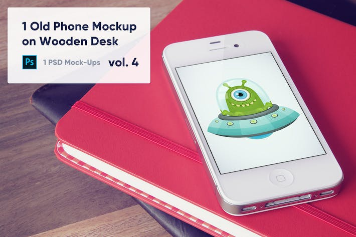 Thumbnail for 1 Old Phone Mockup on Wooden Desk Vol.4