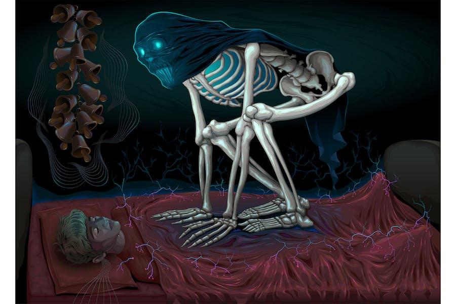 Сон паралич ужас сцена с демоном в кровать