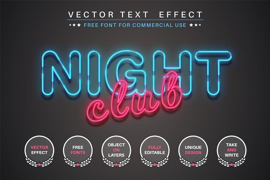Night Club - editable text effect, font style