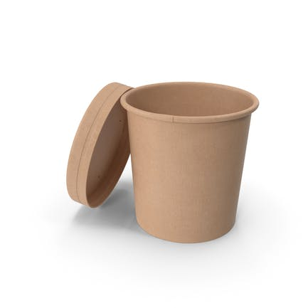 Kraft Paper Food Cup with Vented Lid Disposable Ice Cream Bucket 12 Oz 300 ml Open